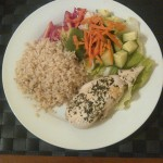Chicken breast with brown rice and mixed salad