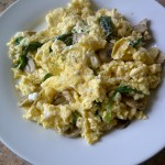 Two yolks and eight whites scrambled with mushrooms and spinach