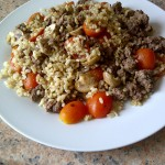 Kangaroo mince with brown rice mushrooms and cherry tomatoes