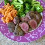 Kangaroo fillet rare with sweet potato mash and brocoli