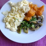 Scrambled two yolks and six whites with sweet potato, mushroom and spinach