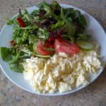 Scrambled three yolks and seven whites plus a  big green salad